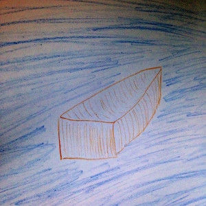 Crayon rowboat on blue water