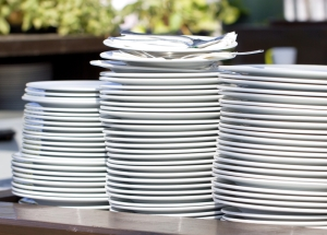 stacked white buffet plates from SolidStockArt
