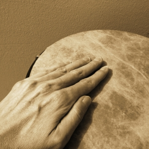 sepia square Hand on drum